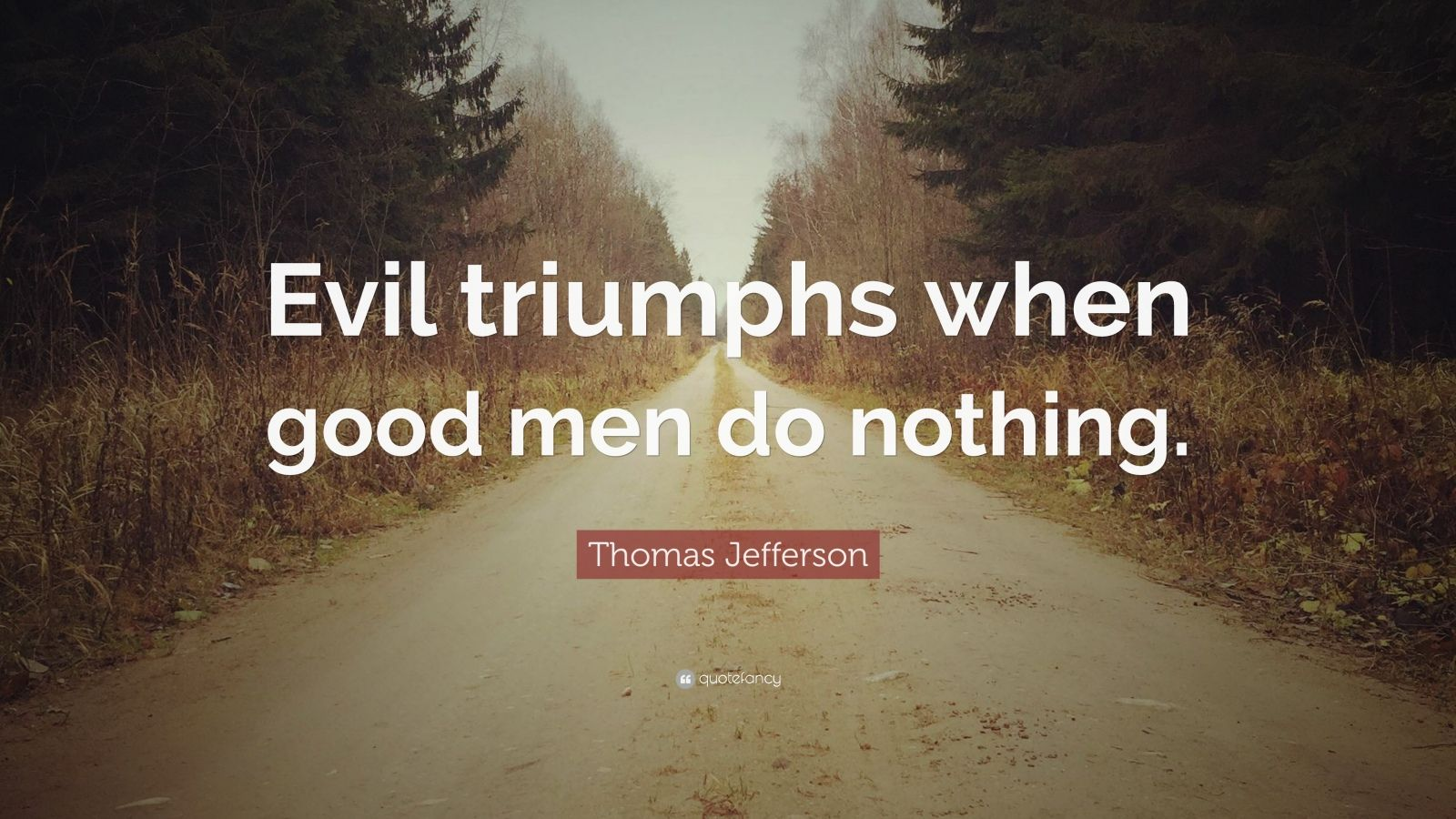 "Thomas Jefferson Quote: ""Evil triumphs when good men do nothing."""