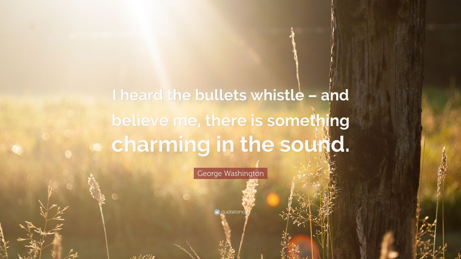"George Washington Quote: ""I heard the bullets whistle – and believe me, there is something charming in the sound."""