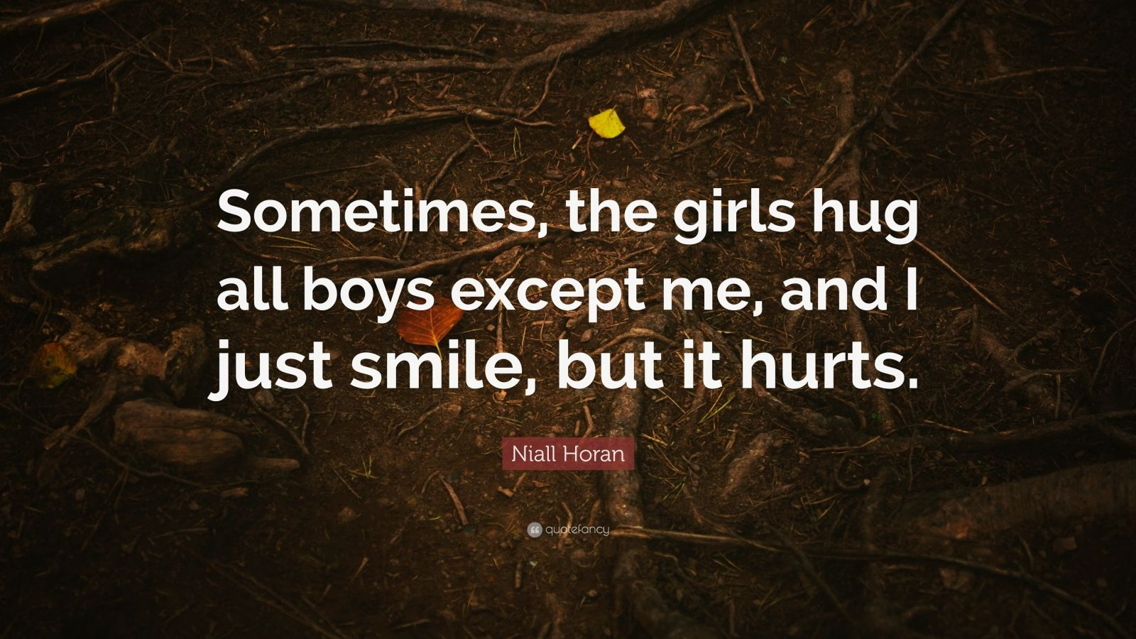 "Niall Horan Quote: ""Sometimes, the girls hug all boys except me, and I just smile, but it hurts."""