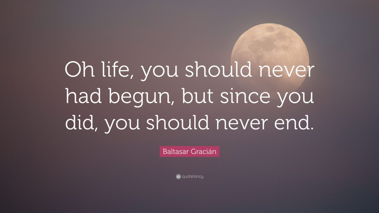 "Baltasar Gracián Quote: ""Oh life, you should never had begun, but since you did, you should never end."""