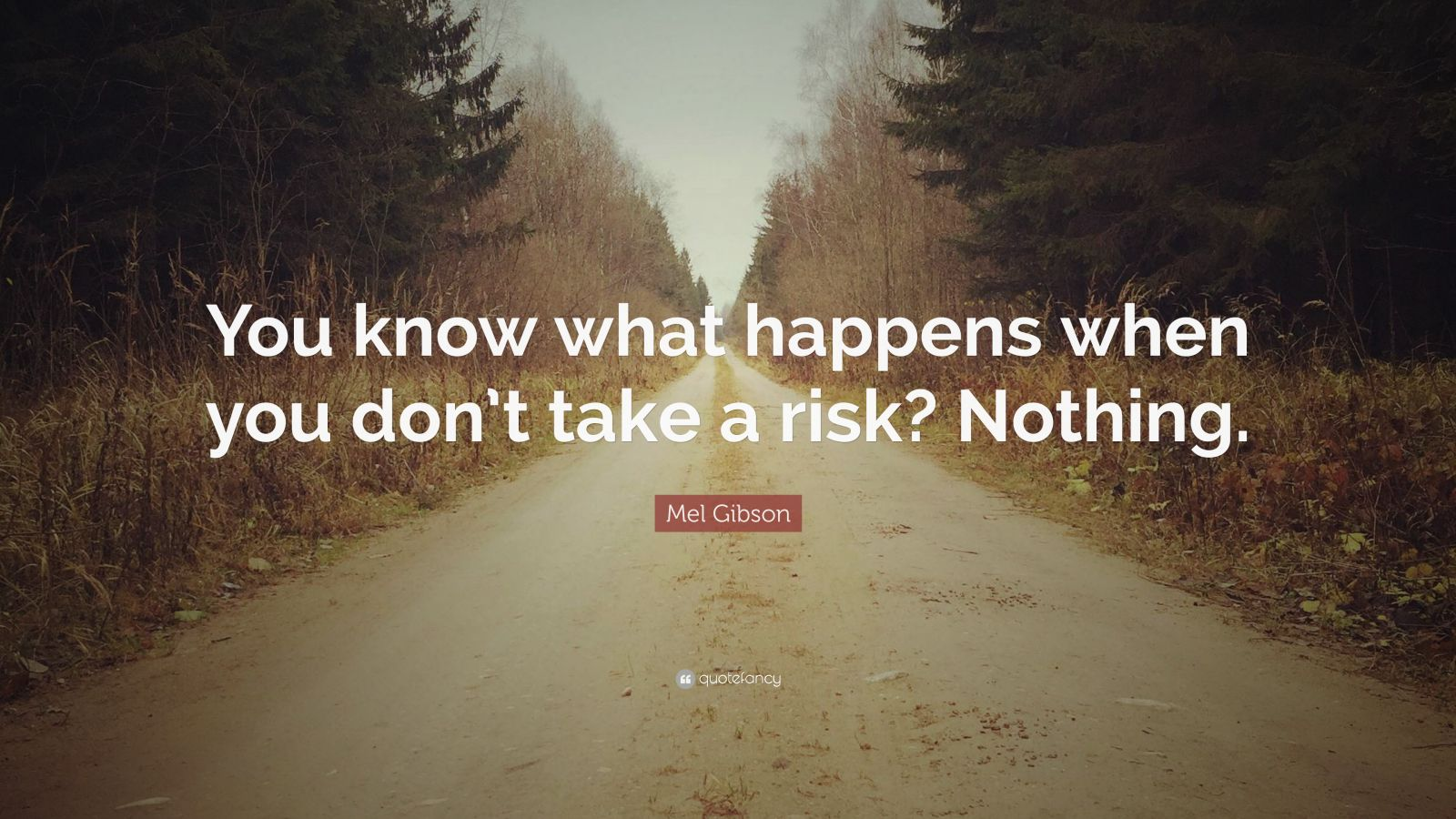 "Mel Gibson Quote: ""You know what happens when you don't take a risk? Nothing."""