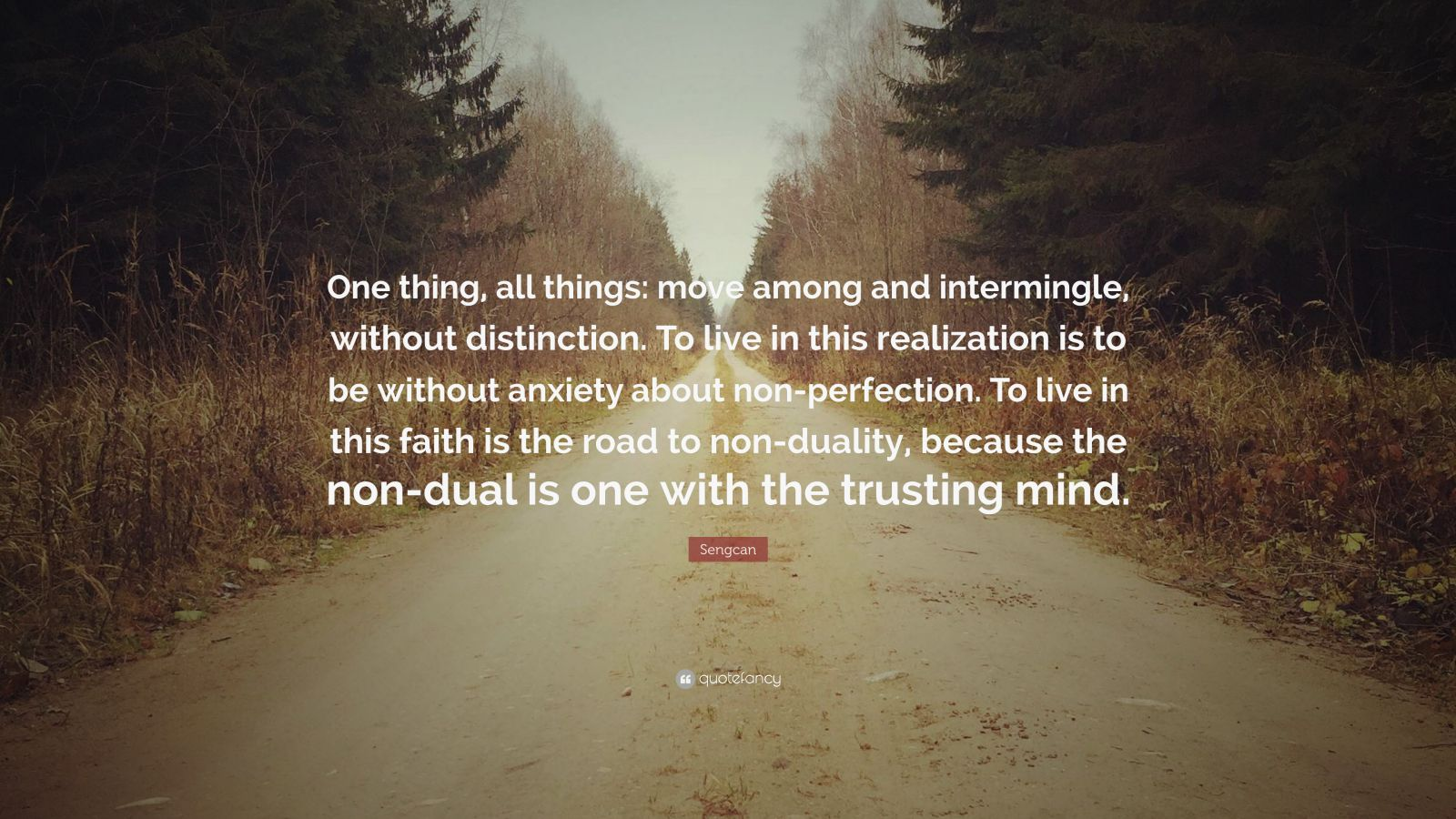 "Sengcan Quote: ""One thing, all things: move among and intermingle, without distinction. To live in this realization is to be without anxiety about non-perfection. To live in this faith is the road to non-duality, because the non-dual is one with the trusting mind."""