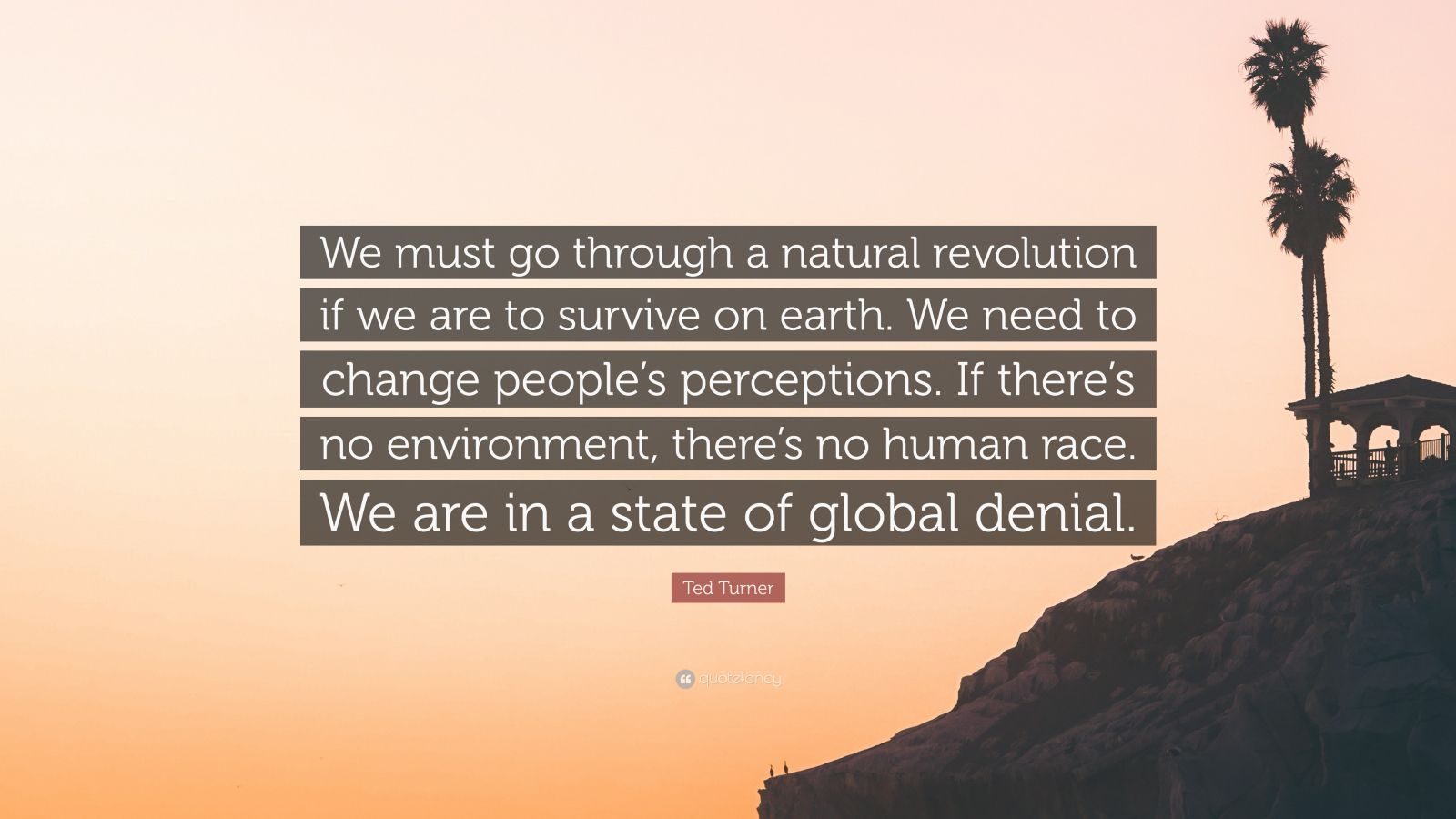 "Ted Turner Quote: ""We must go through a natural revolution if we are to survive on earth. We need to change people's perceptions. If there's no environment, there's no human race. We are in a state of global denial."""