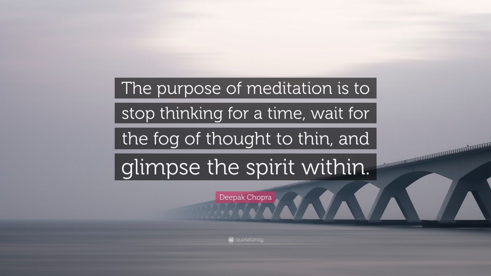 """Deepak Chopra Quote: """"The purpose of meditation is to stop ..."""
