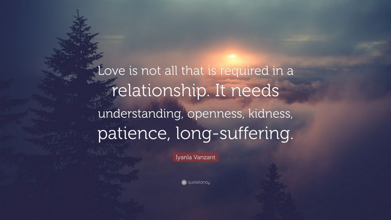 "Iyanla Vanzant Quote: ""Love is not all that is required in a relationship. It needs understanding, openness, kidness, patience, long-suffering."""
