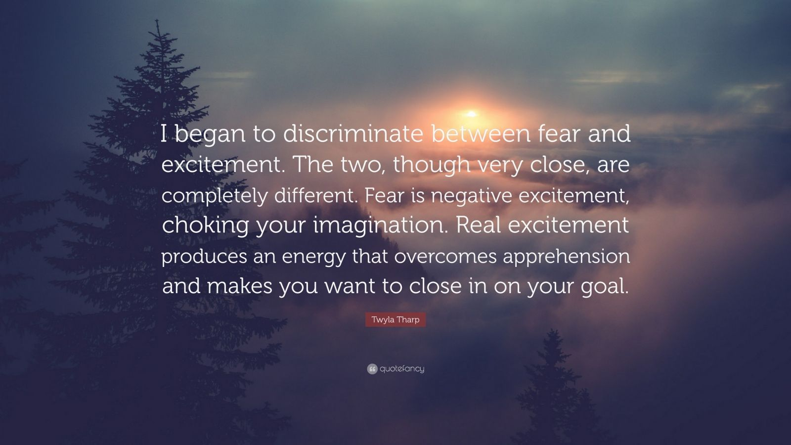 """Twyla Tharp Quote: """"I began to discriminate between fear and excitement. The two, though very close, are completely different. Fear is negative excitement, choking your imagination. Real excitement produces an energy that overcomes apprehension and makes you want to close in on your goal."""""""