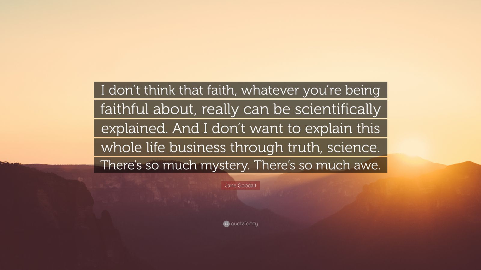 """Jane Goodall Quote: """"I don't think that faith, whatever you're being faithful about, really can be scientifically explained. And I don't want to explain this whole life business through truth, science. There's so much mystery. There's so much awe."""""""