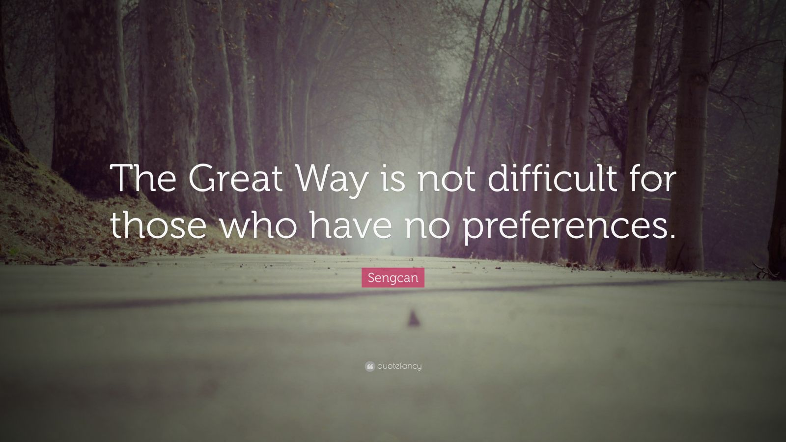 "Sengcan Quote: ""The Great Way is not difficult for those who have no preferences."""