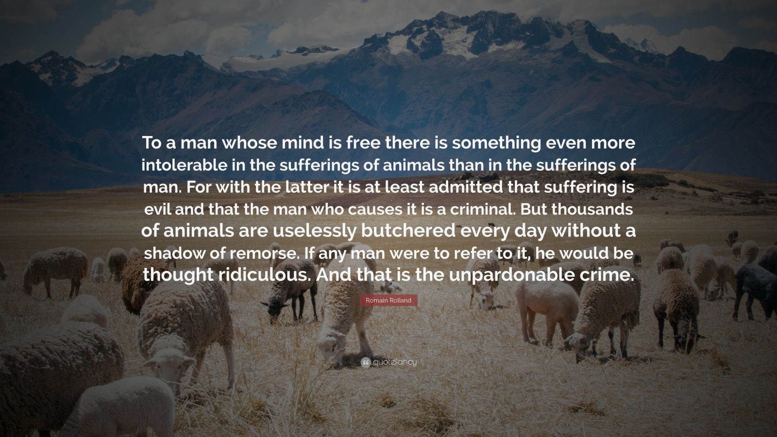 """Romain Rolland Quote: """"To a man whose mind is free there is something even more intolerable in the sufferings of animals than in the sufferings of man. For with the latter it is at least admitted that suffering is evil and that the man who causes it is a criminal. But thousands of animals are uselessly butchered every day without a shadow of remorse. If any man were to refer to it, he would be thought ridiculous. And that is the unpardonable crime."""""""