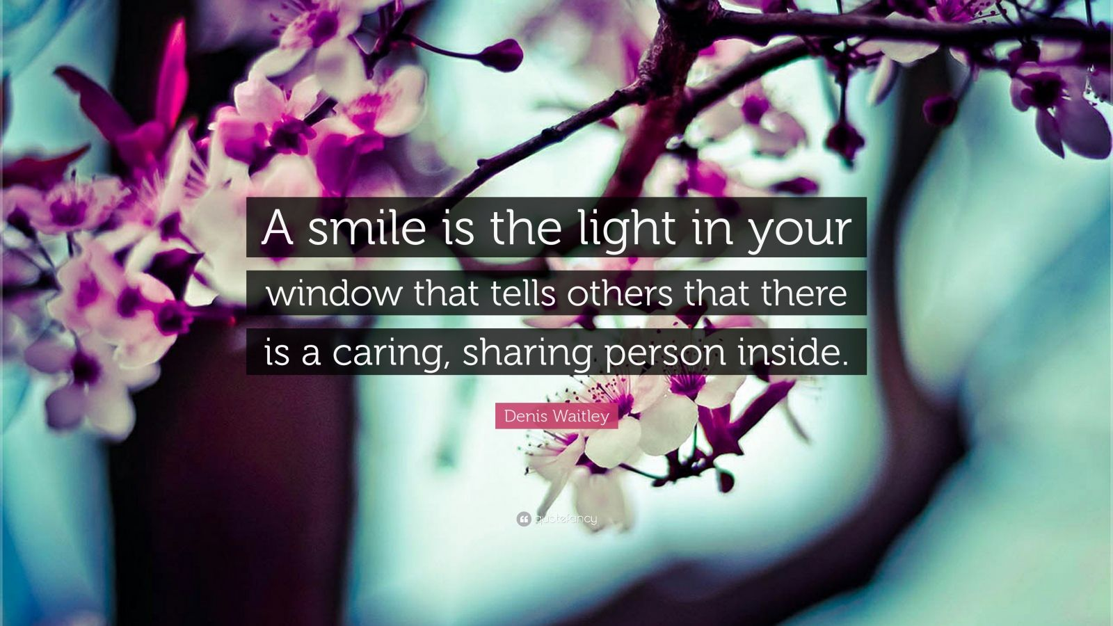 "Denis Waitley Quote: ""A smile is the light in your window that tells others that there is a caring, sharing person inside."""