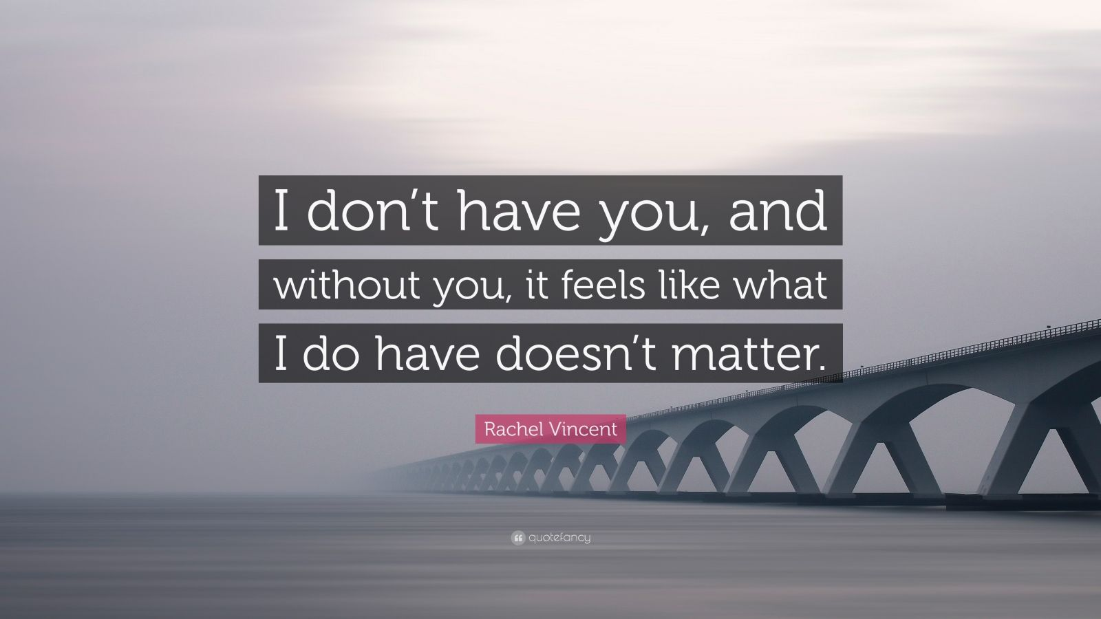 """Rachel Vincent Quote: """"I don't have you, and without you, it feels like what I do have doesn't matter."""""""