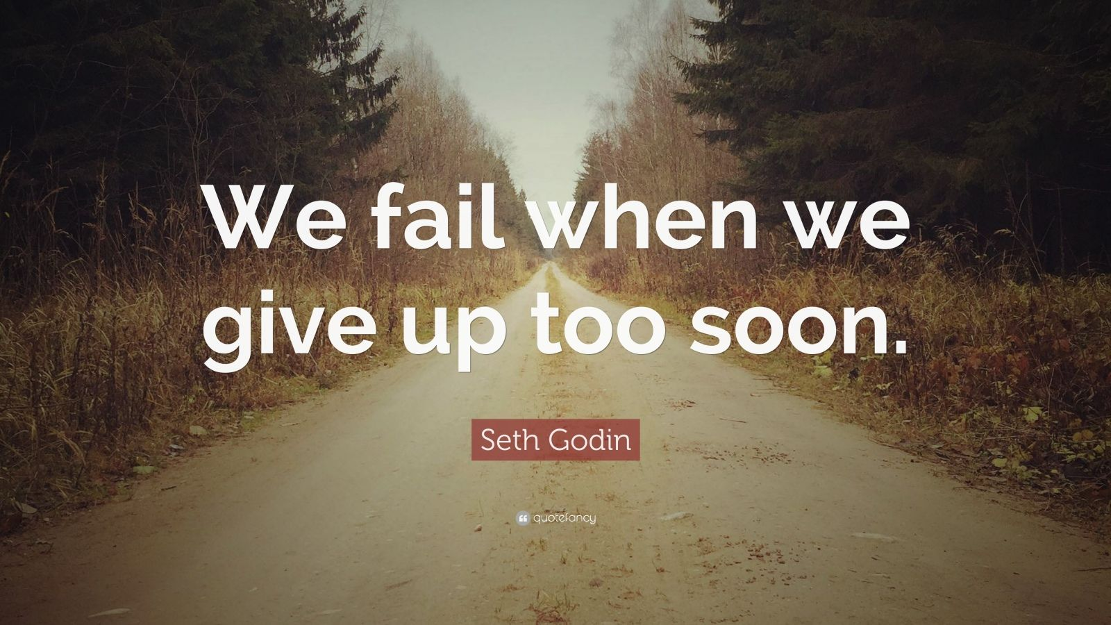 """Seth Godin Quote: """"We fail when we give up too soon."""""""