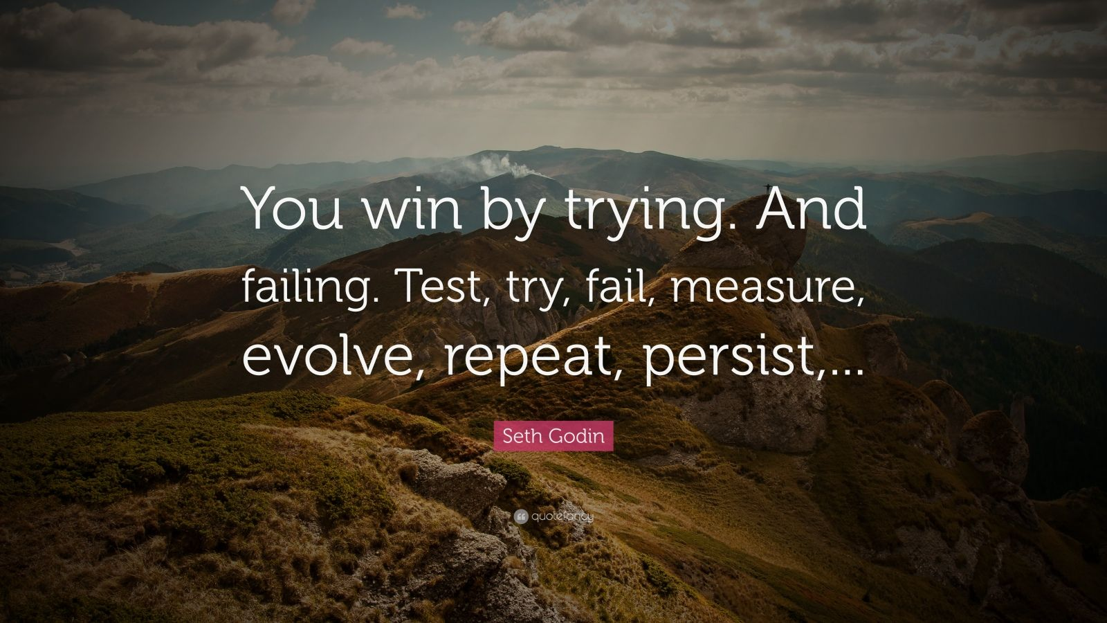 "Seth Godin Quote: ""You win by trying. And failing. Test, try, fail, measure, evolve, repeat, persist,..."""