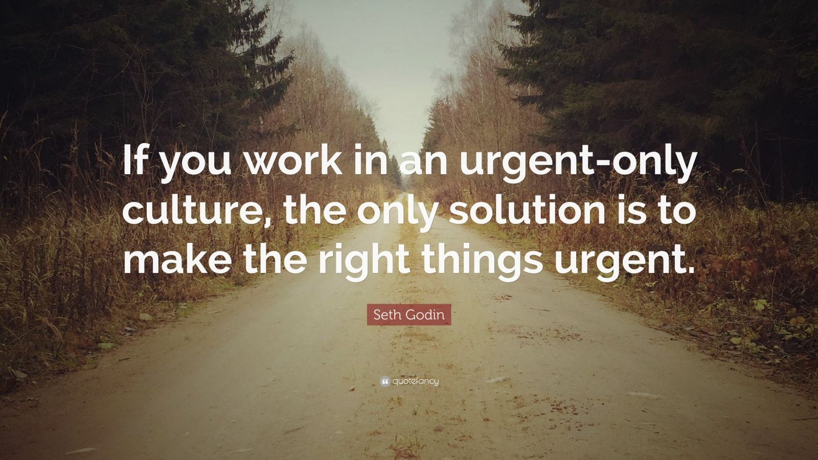 "Seth Godin Quote: ""If you work in an urgent-only culture, the only solution is to make the right things urgent."""