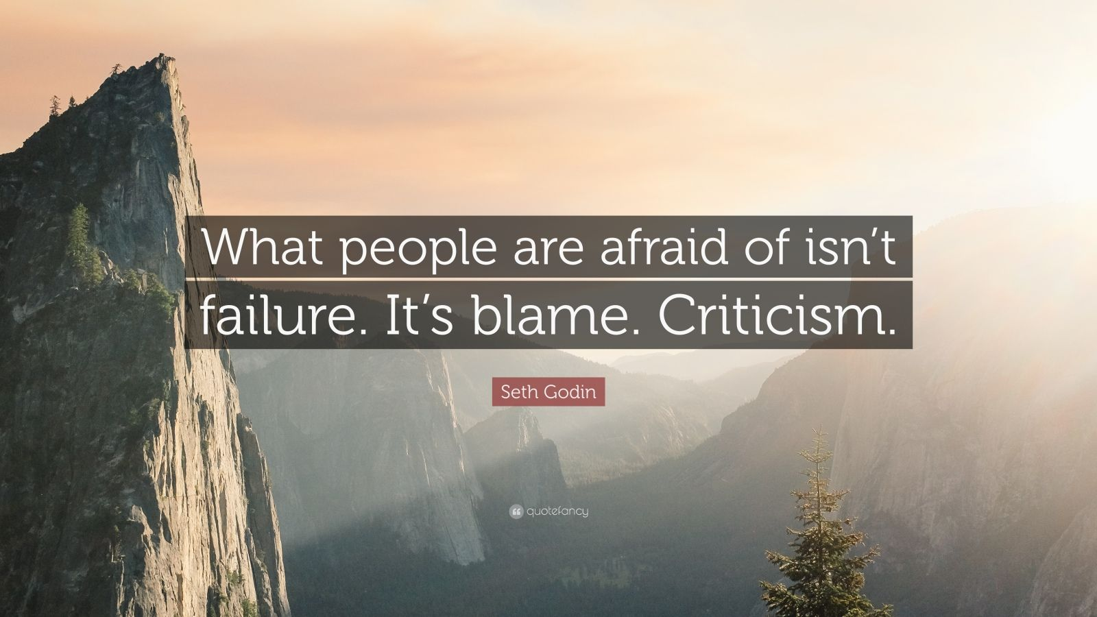 """Seth Godin Quote: """"What people are afraid of isn't failure. It's blame. Criticism."""""""