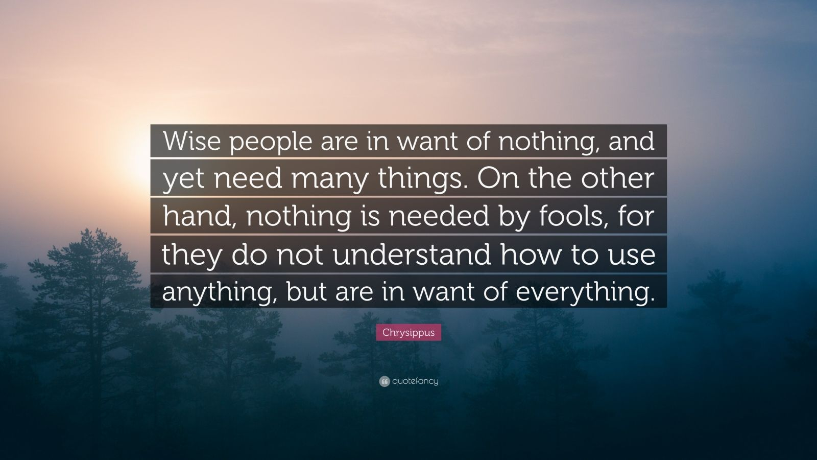 """Chrysippus Quote: """"Wise people are in want of nothing, and yet need many things. On the other hand, nothing is needed by fools, for they do not understand how to use anything, but are in want of everything."""""""