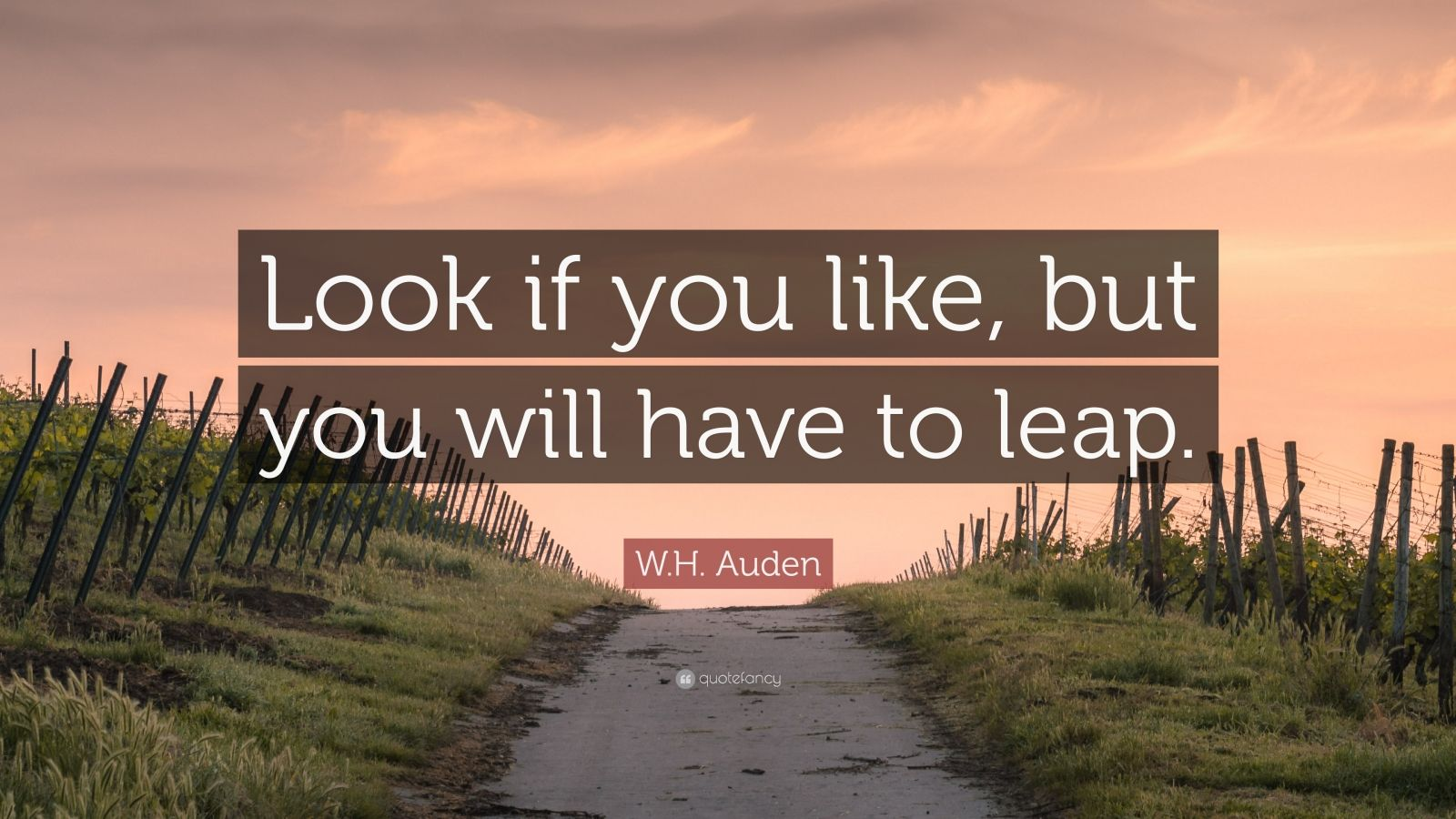 """W.H. Auden Quote: """"Look if you like, but you will have to leap."""""""