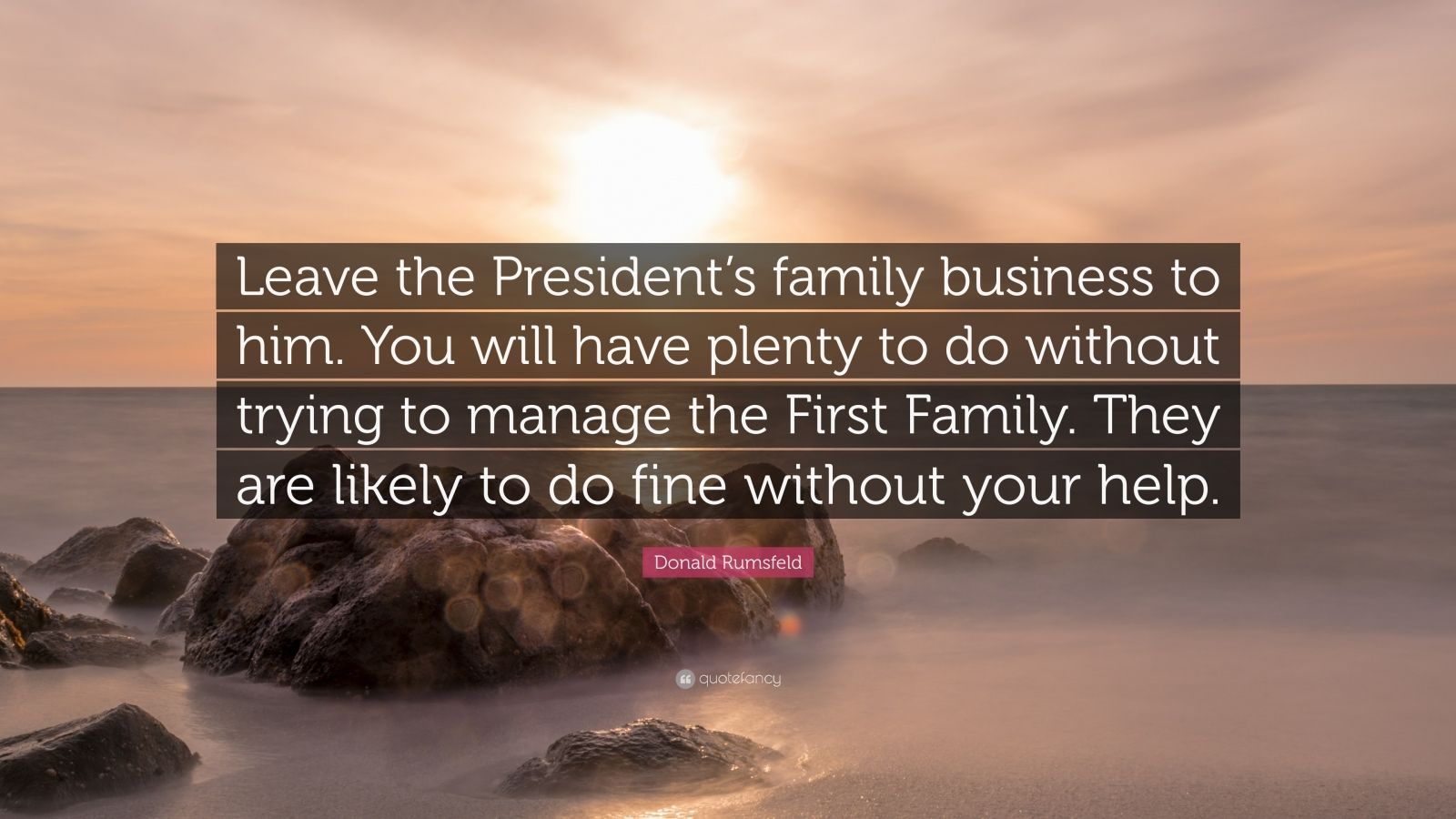 Donald Rumsfeld Quote: U201cLeave The Presidentu0027s Family Business To Him. You  Will Have