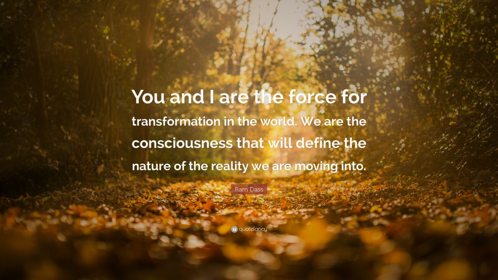 "Ram Dass Quote: ""You and I are the force for transformation in the world. We are the consciousness that will define the nature of the reality we are moving into."""