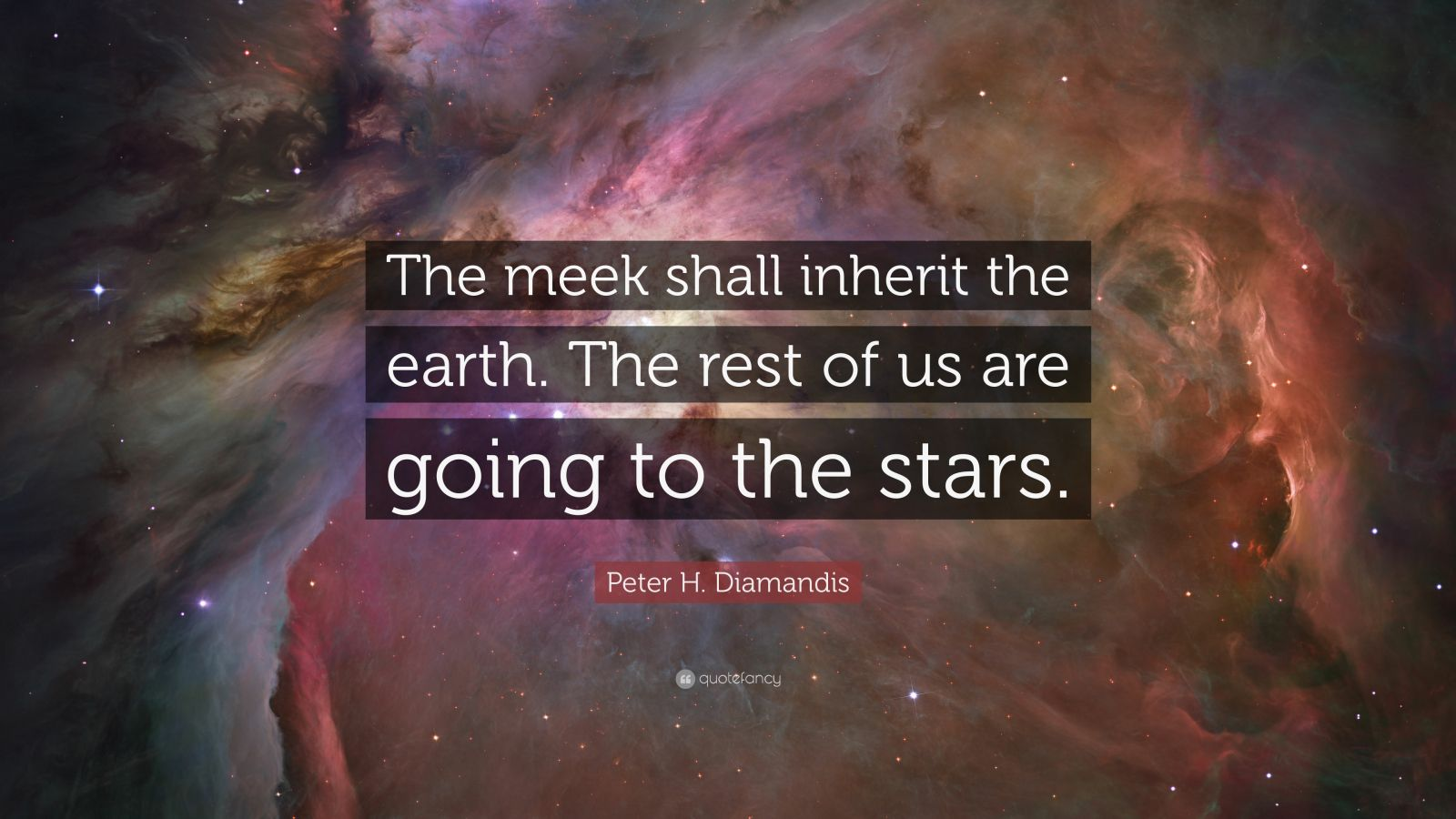 """Peter H. Diamandis Quote: """"The meek shall inherit the earth. The rest of us are going to the stars."""""""
