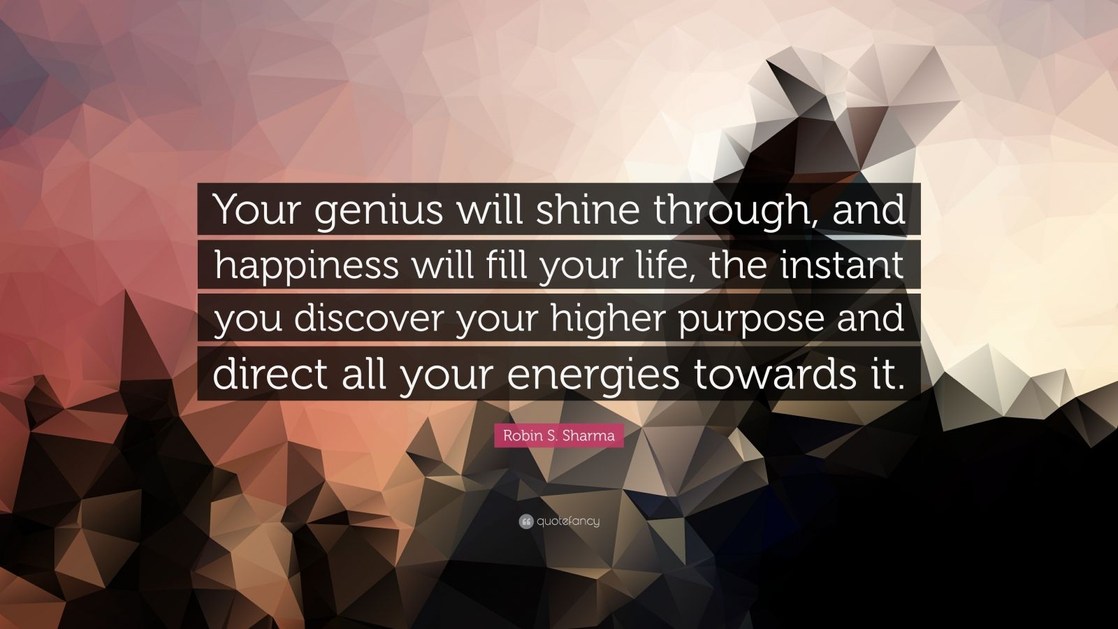 """Robin S. Sharma Quote: """"Your genius will shine through, and happiness will fill your life, the instant you discover your higher purpose and direct all your energies towards it."""""""