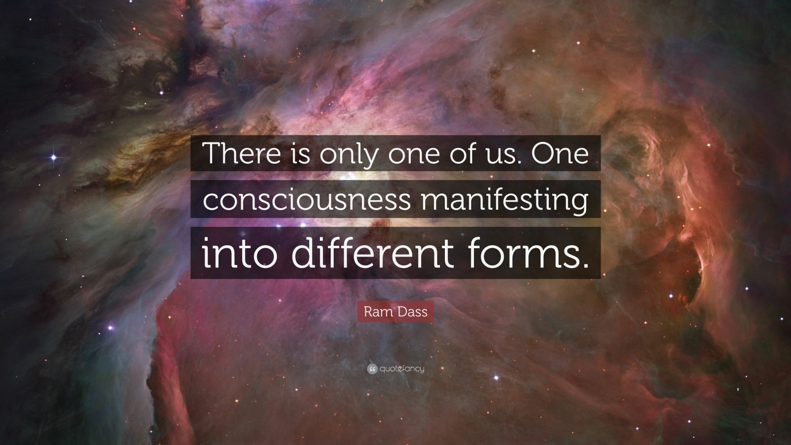 "Ram Dass Quote: ""There is only one of us. One consciousness manifesting into different forms."""