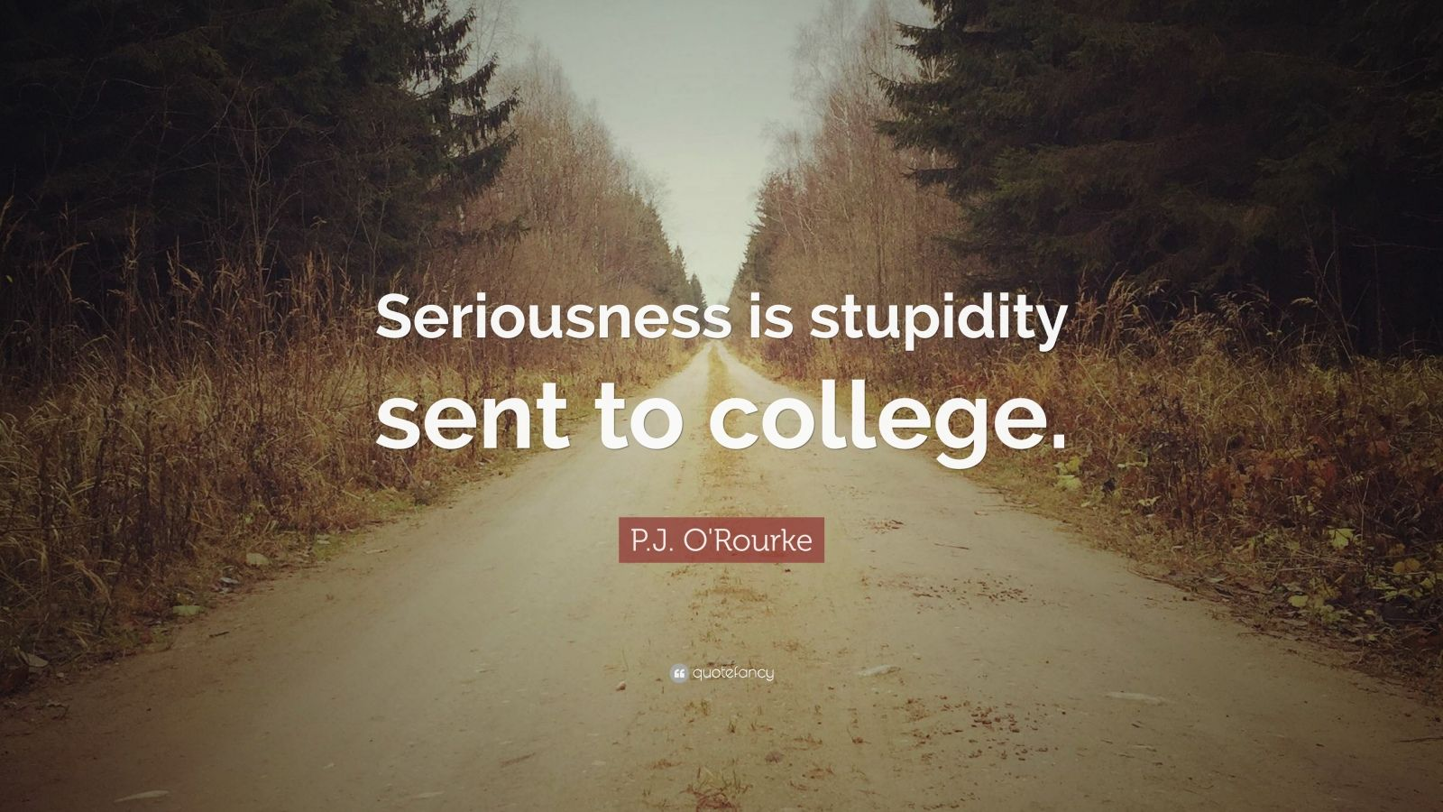 """P.J. O'Rourke Quote: """"Seriousness is stupidity sent to college."""""""