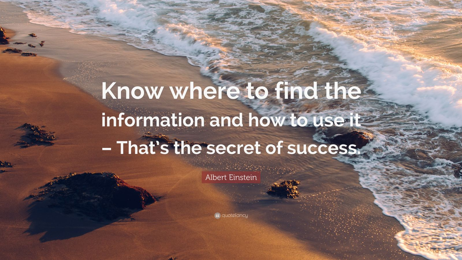 """Albert Einstein Quote: """"Know where to find the information and how to use it – That's the secret of success."""""""