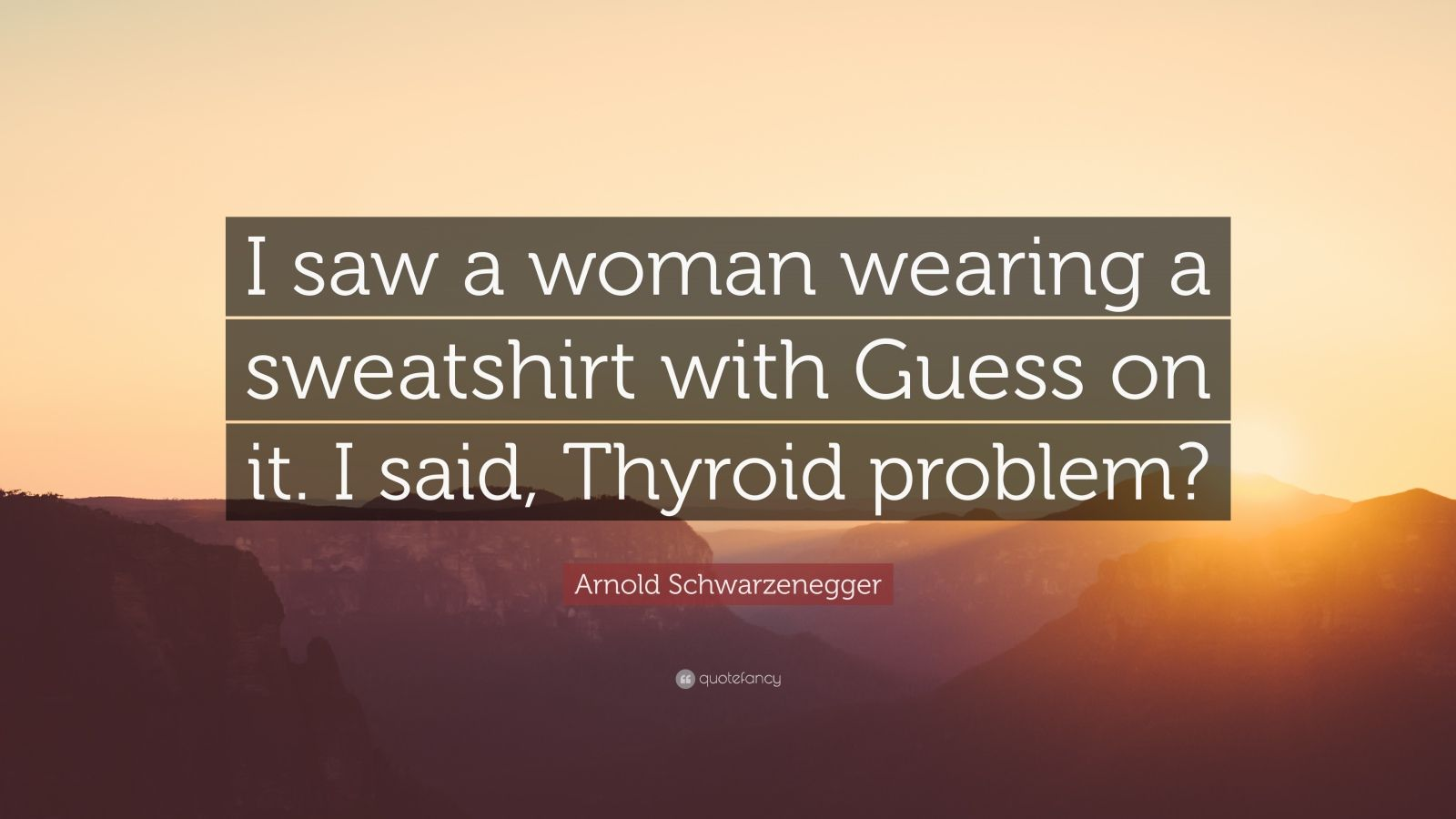 "Arnold Schwarzenegger Quote: ""I saw a woman wearing a sweatshirt with Guess on it. I said, Thyroid problem?"""