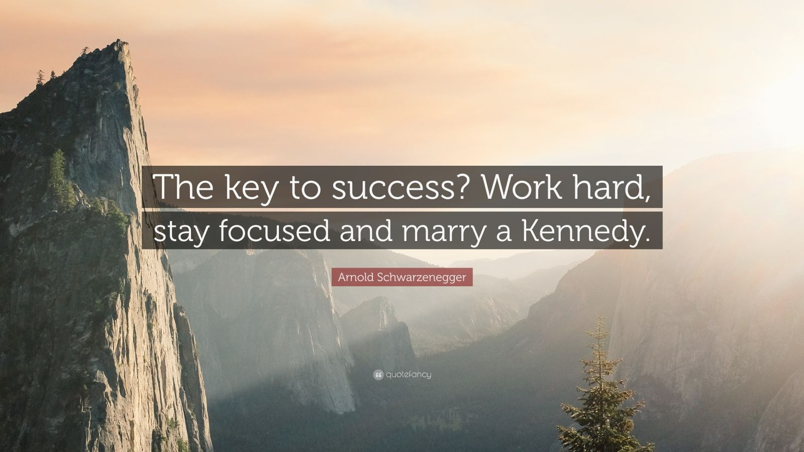 """Arnold Schwarzenegger Quote: """"The key to success? Work hard, stay focused and marry a Kennedy."""""""