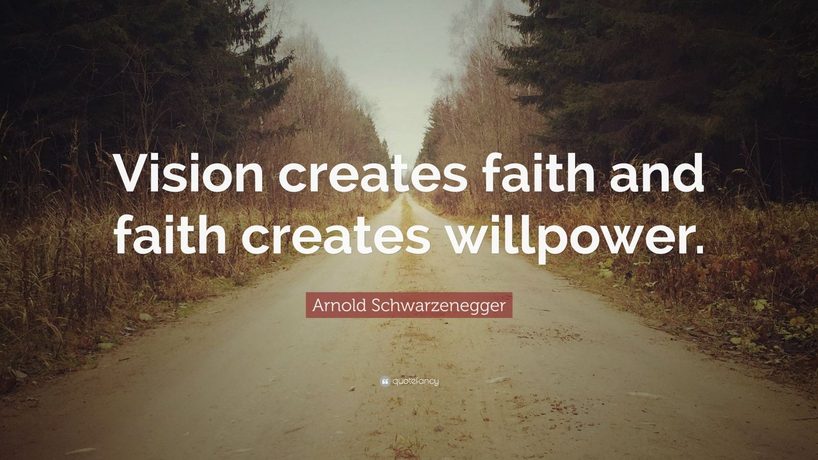 "Arnold Schwarzenegger Quote: ""Vision creates faith and faith creates willpower."""