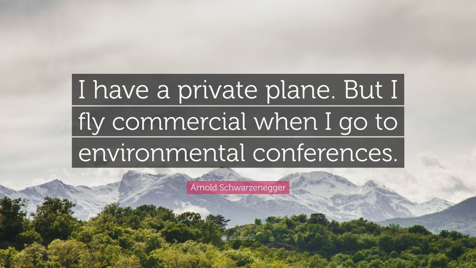 """Arnold Schwarzenegger Quote: """"I have a private plane. But I fly commercial when I go to environmental conferences."""""""
