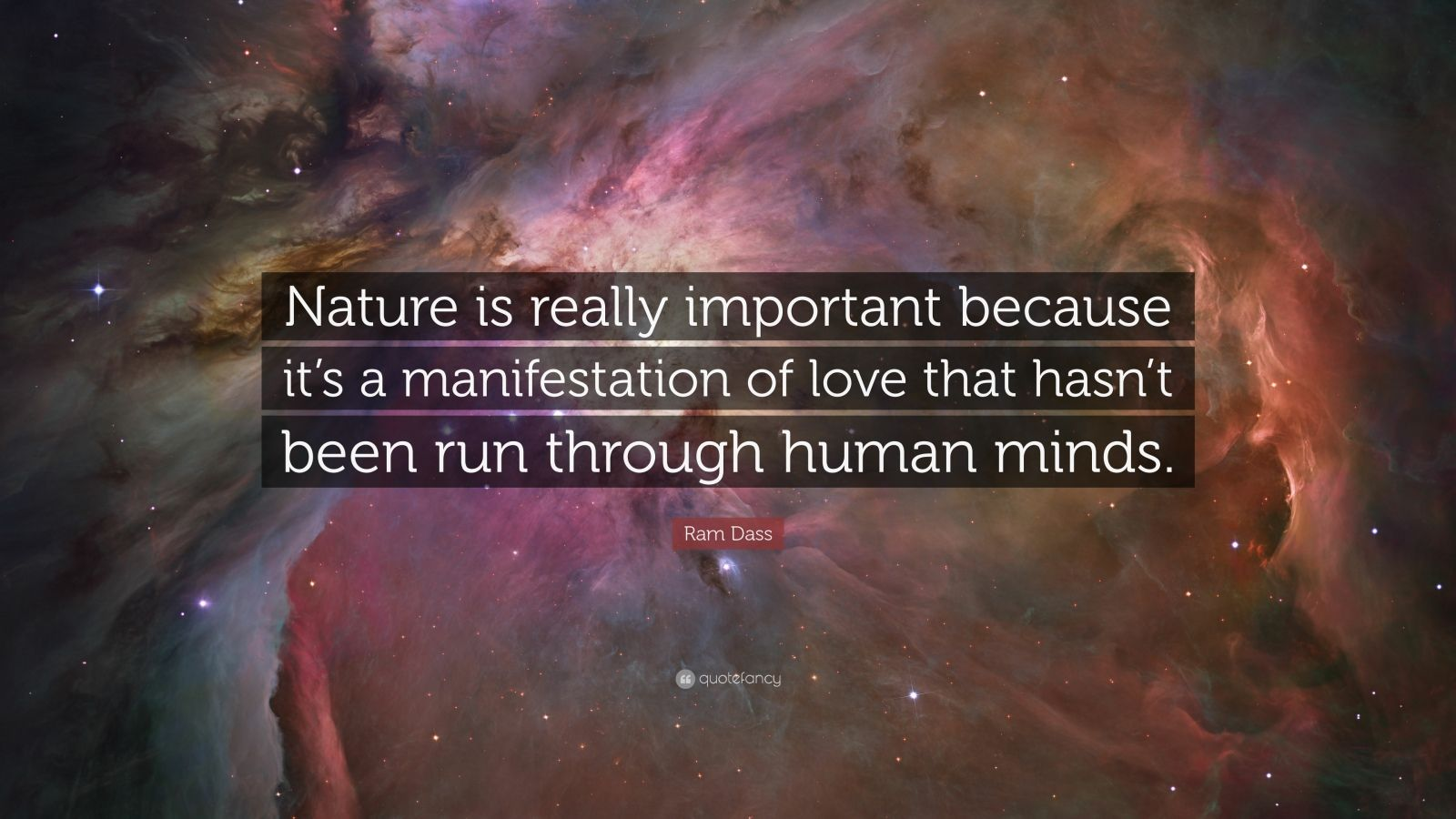 "Ram Dass Quote: ""Nature is really important because it's a manifestation of love that hasn't been run through human minds."""