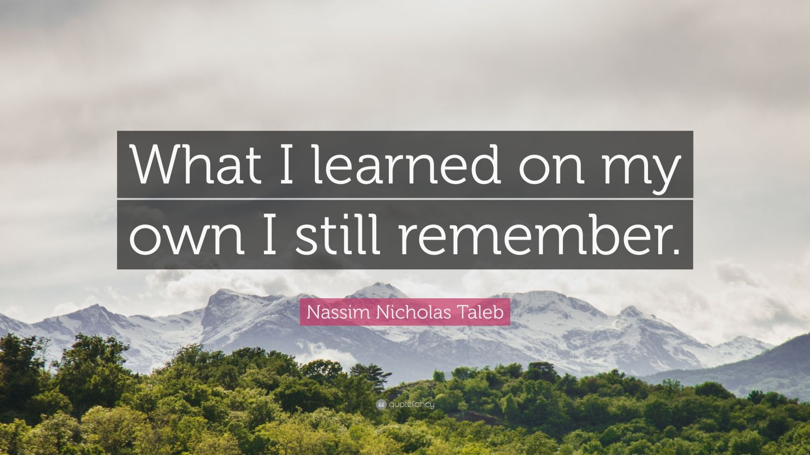 """Nassim Nicholas Taleb Quote: """"What I learned on my own I still remember."""""""