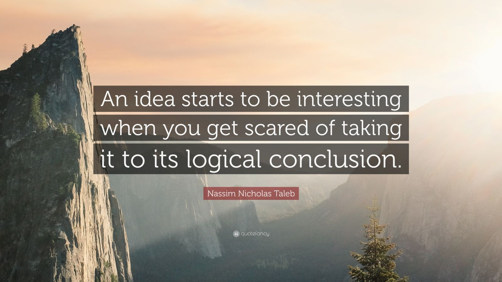 "Nassim Nicholas Taleb Quote: ""An idea starts to be interesting when you get scared of taking it to its logical conclusion."""