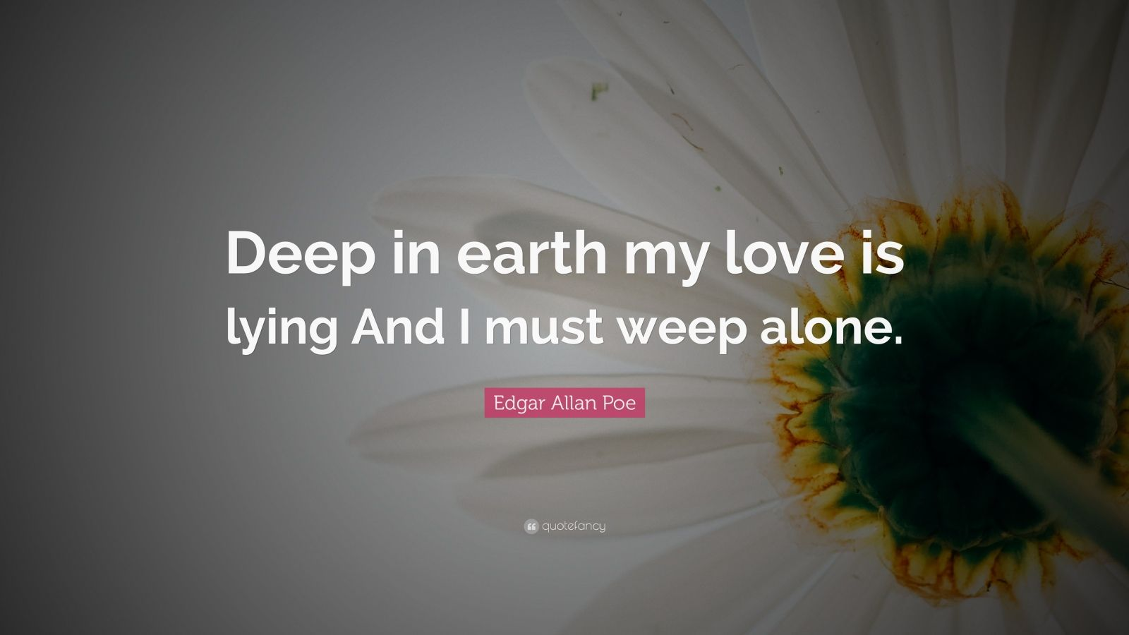 "Edgar Allan Poe Quote: ""Deep in earth my love is lying And ..."