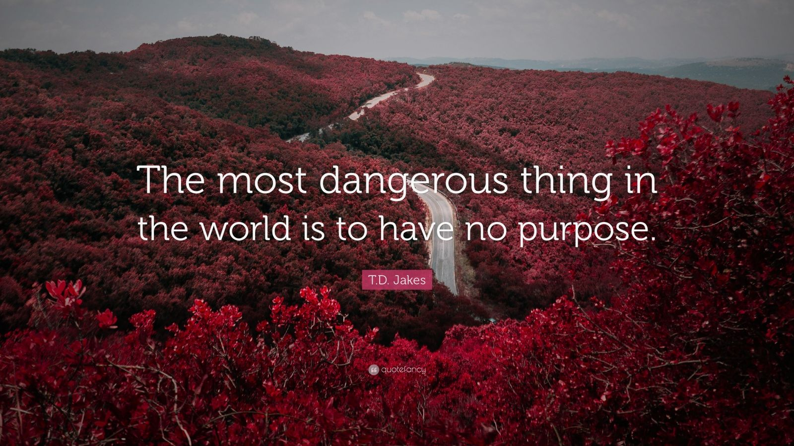 "T.D. Jakes Quote: ""The most dangerous thing in the world is to have no purpose."""