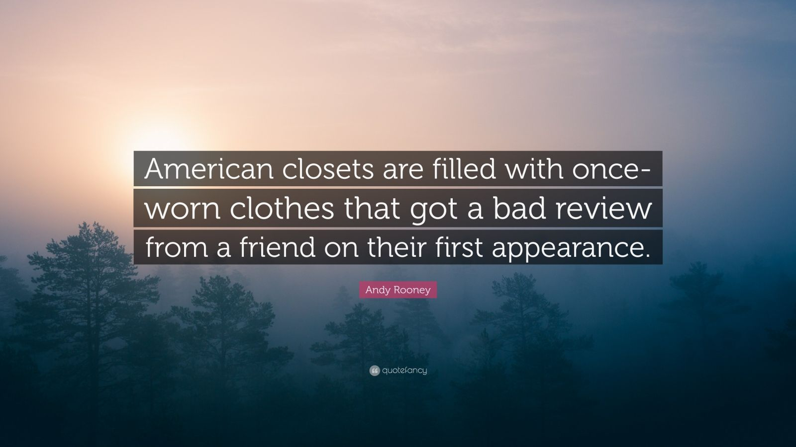 Andy Rooney Quote: U201cAmerican Closets Are Filled With Once Worn Clothes That  Got