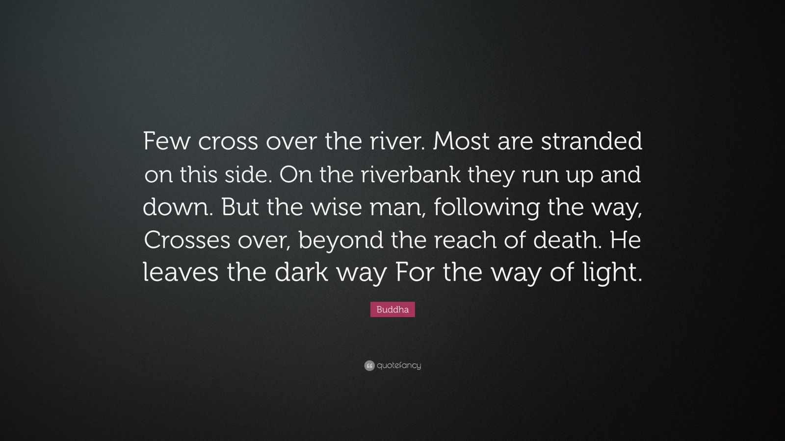 "Buddha Quote: ""Few cross over the river. Most are stranded on this side. On the riverbank they run up and down. But the wise man, following the way, Crosses over, beyond the reach of death. He leaves the dark way For the way of light."""