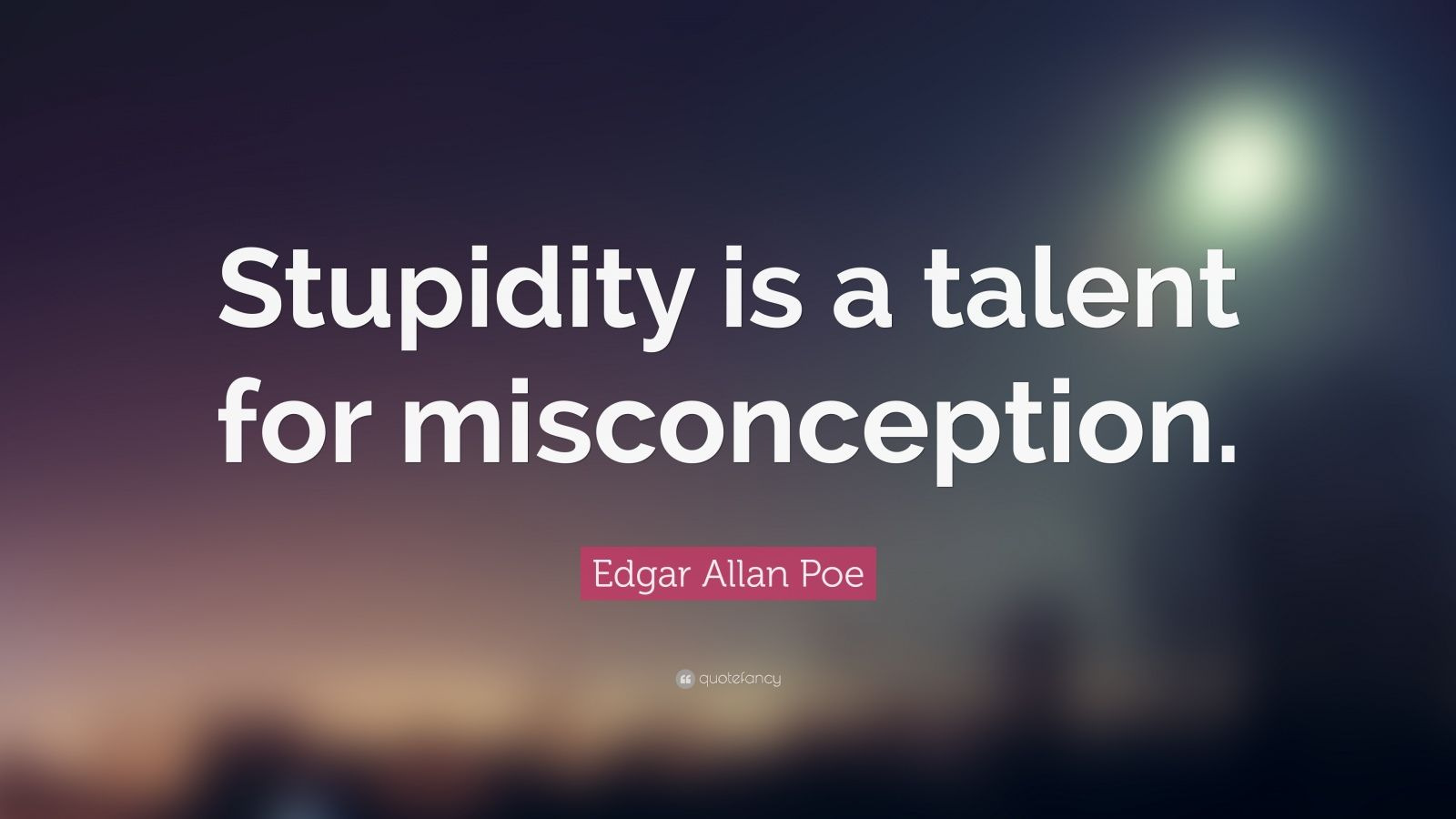 "Edgar Allan Poe Quote: ""Stupidity is a talent for misconception."""