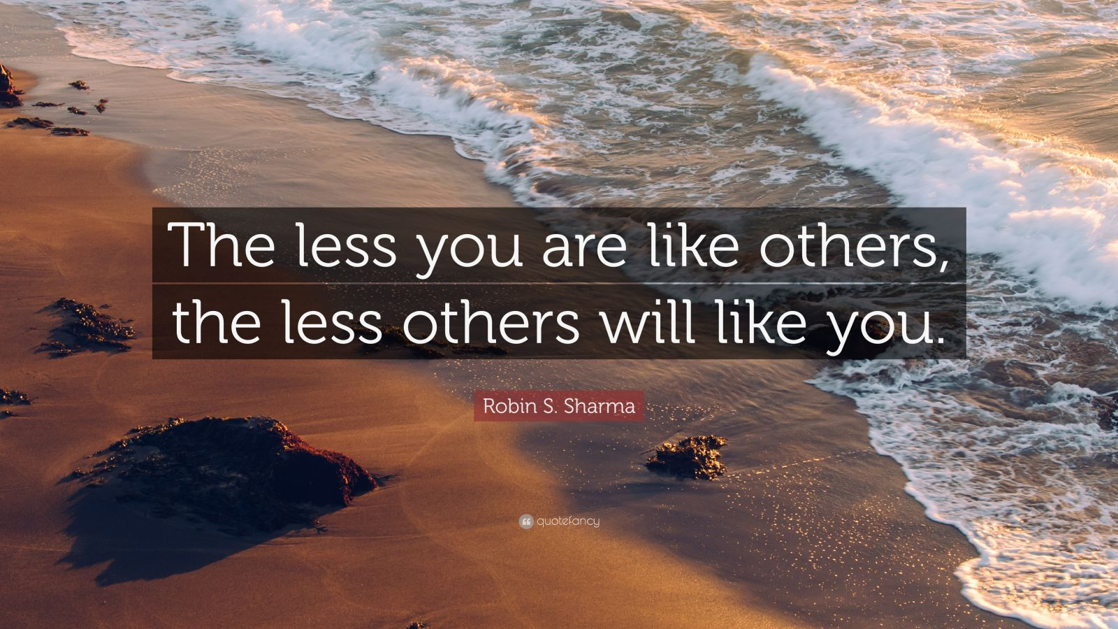 """Robin S. Sharma Quote: """"The less you are like others, the less others will like you."""""""