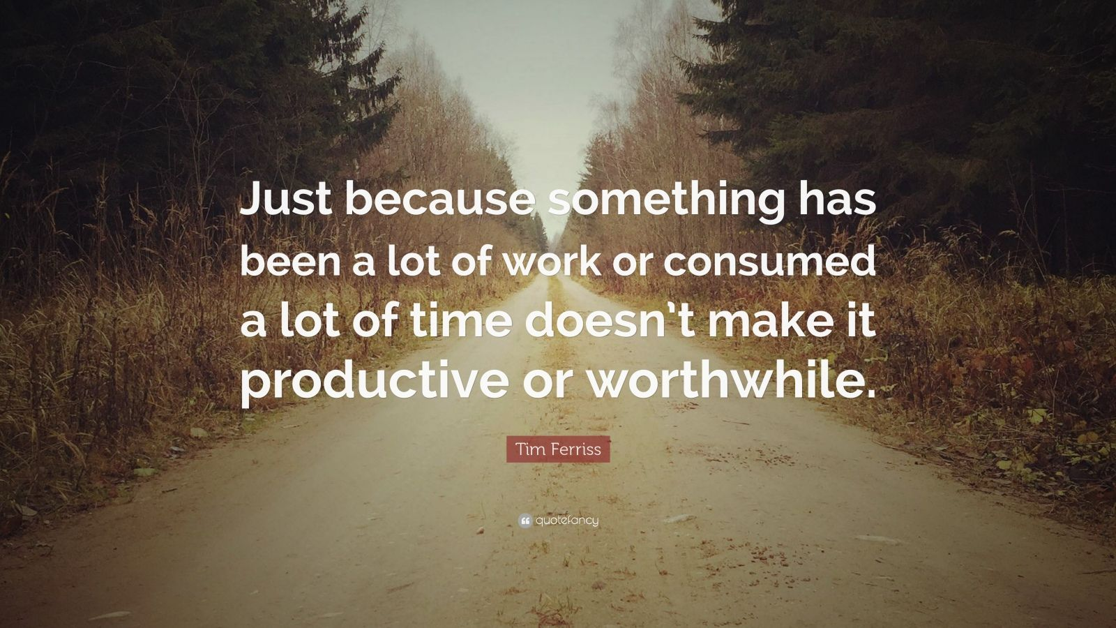 """Tim Ferriss Quote: """"Just because something has been a lot of work or consumed a lot of time doesn't make it productive or worthwhile."""""""
