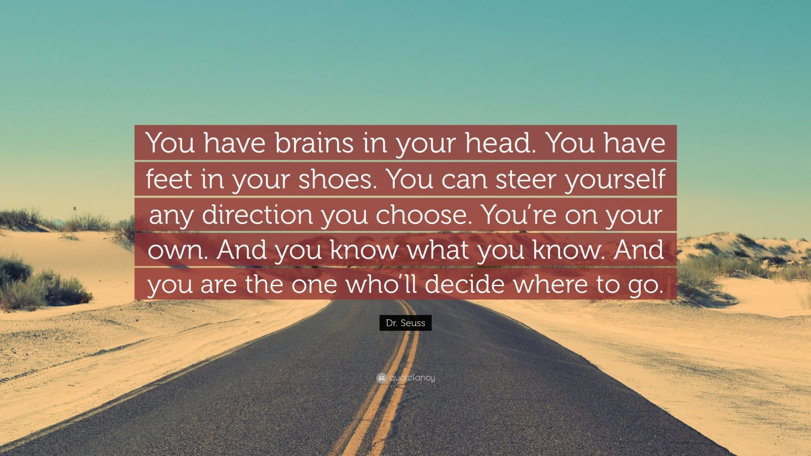 """Dr. Seuss Quote: """"You have brains in your head. You have feet in your shoes. You can steer yourself any direction you choose. You're on your own. And you know what you know. And you are the one who'll decide where to go."""""""