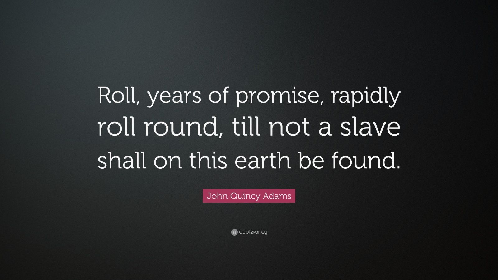 "John Quincy Adams Quote: ""Roll, years of promise, rapidly roll round, till not a slave shall on this earth be found."""