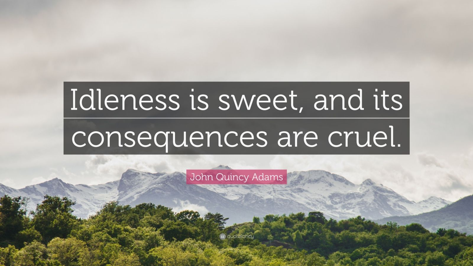 "John Quincy Adams Quote: ""Idleness is sweet, and its consequences are cruel."""