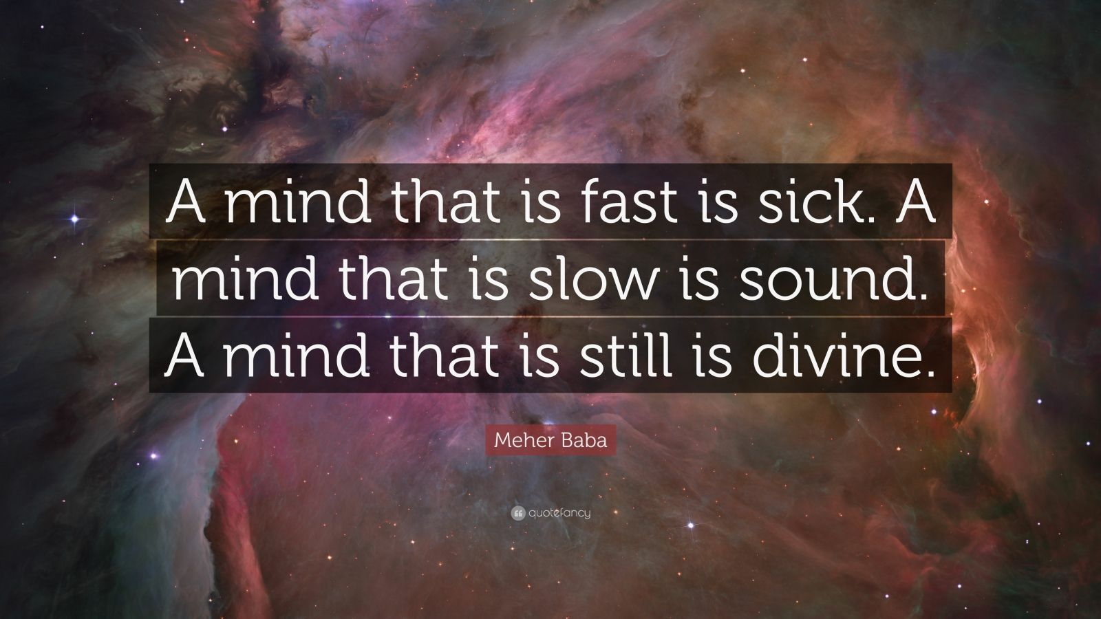 "Meher Baba Quote: ""A mind that is fast is sick. A mind that is slow is sound. A mind that is still is divine."""