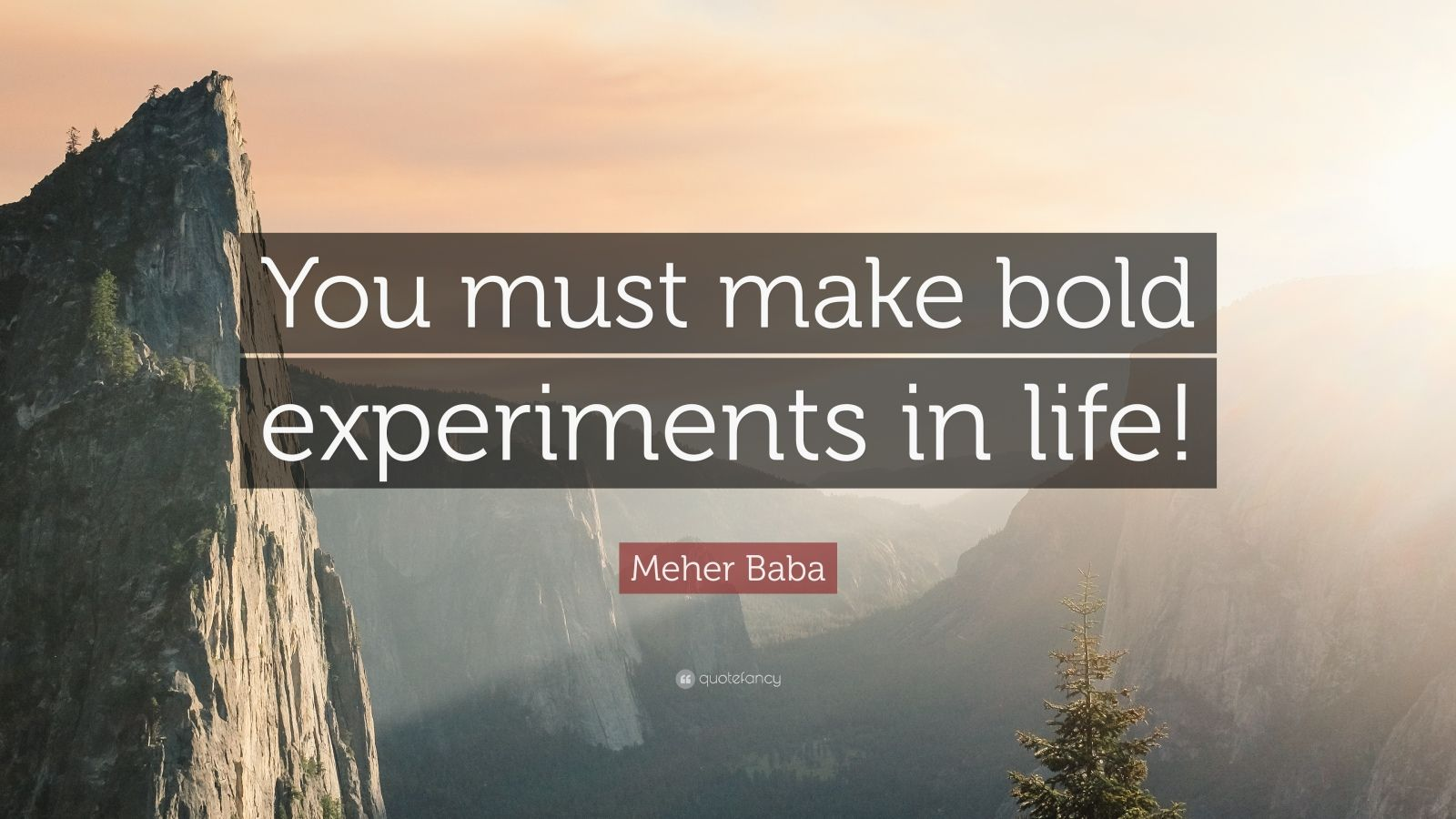 """Meher Baba Quote: """"You must make bold experiments in life!"""""""