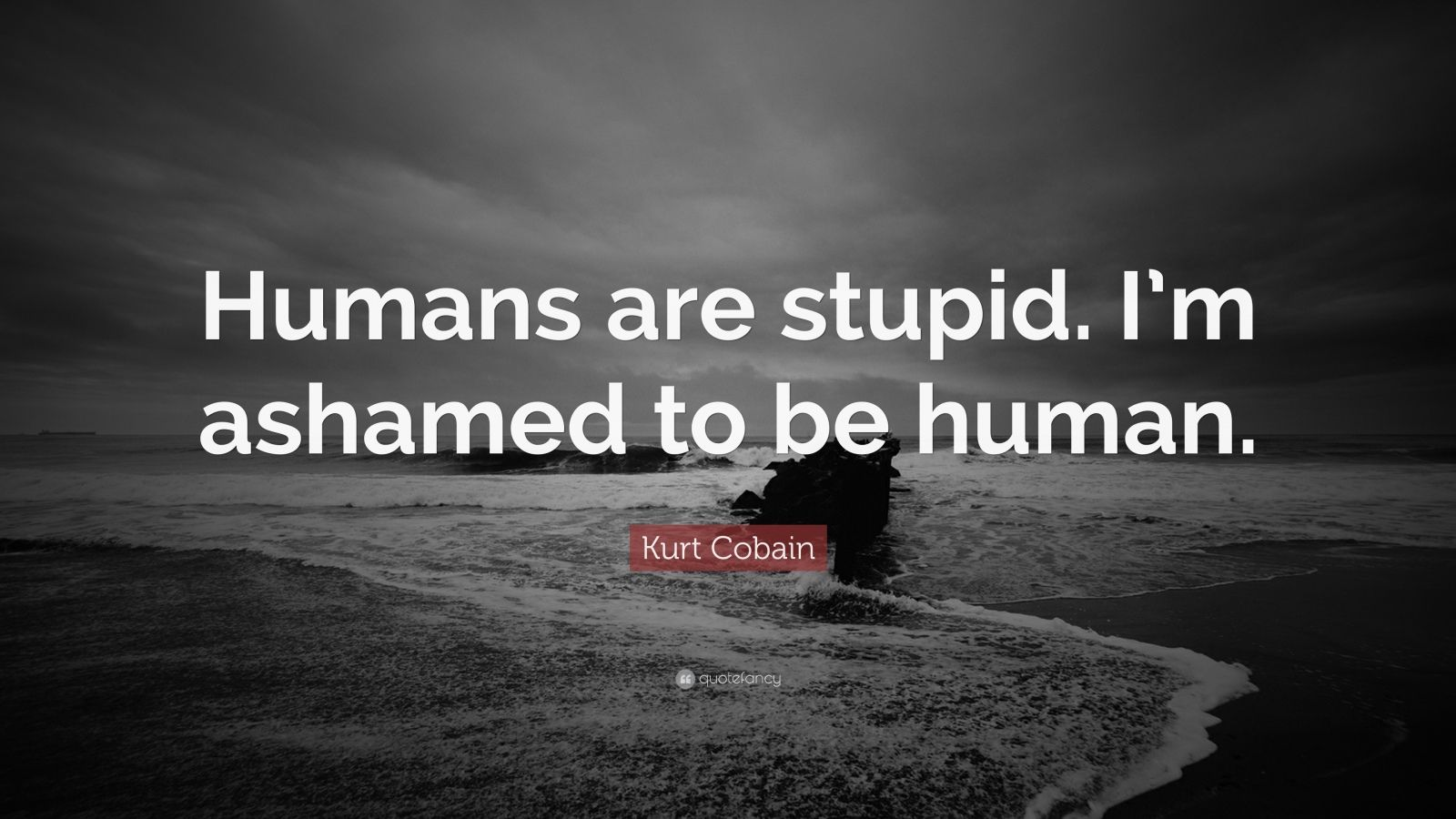 "Kurt Cobain Quote: ""Humans are stupid. I'm ashamed to be human."""