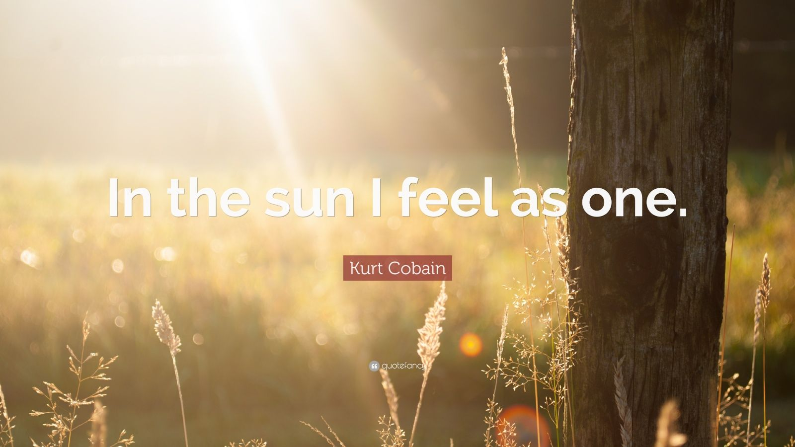 """Kurt Cobain Quote: """"In the sun I feel as one."""""""