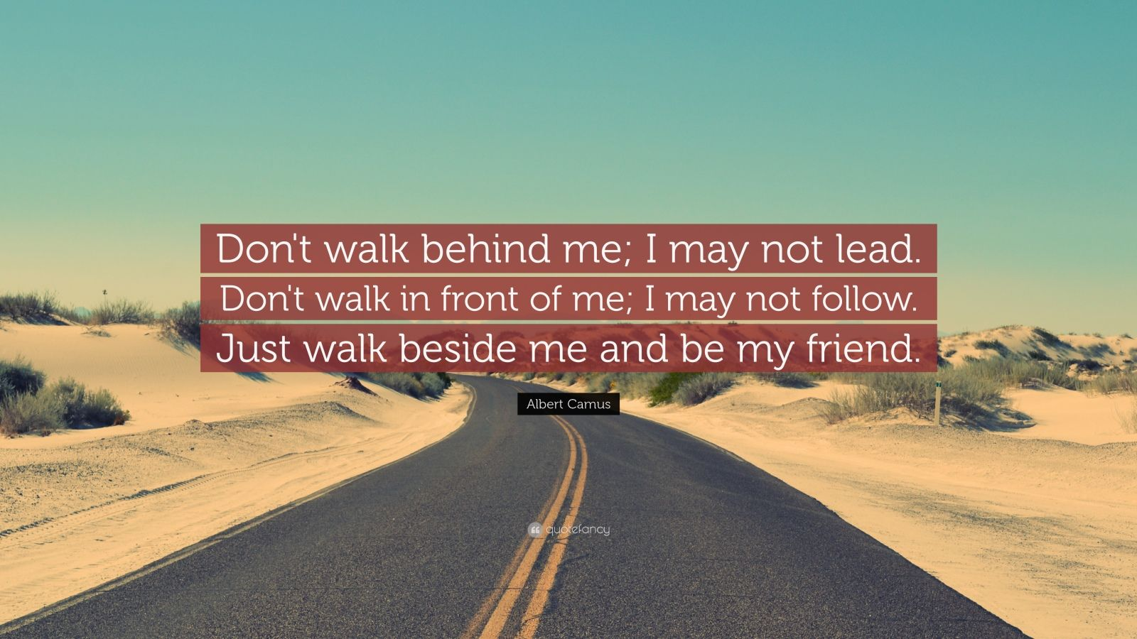 "Albert Camus Quote: ""Don't walk behind me; I may not lead. Don't walk in front of me; I may not follow. Just walk beside me and be my friend."""